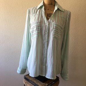 Express The Portofino Shirt mint green w/ stripes